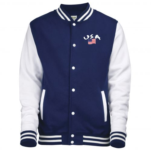 Veste college bicolore Bleu USA_1