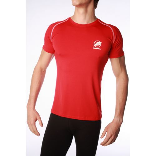 Tee-Shirt Natural Peak Homme Ecrin Rouge coutures Noires