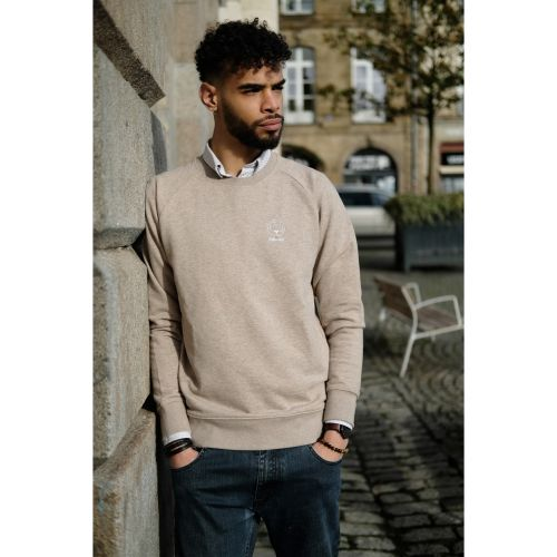 Sweat mixte sable chiné brodé en coton BIO