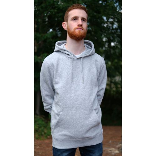 Sweat capuche mixte gris chiné en coton BIO