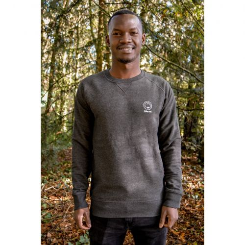 Sweat mixte gris chiné brodé en coton BIO