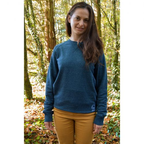 Sweat mixte bleu chiné brodé en coton BIO